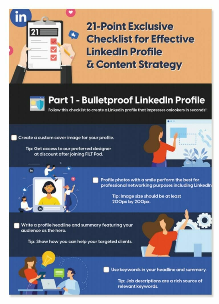 21 Point Exclusive Checklist for Effective LinkedIn Profile and Content Strategy Featured Image
